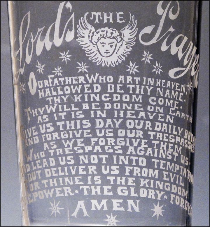 Antique Glass Etched with The Lord's Prayer