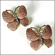 Pair of Enamel Butterfly Brooches / Pins by Carolee - Goldtone with Crystal Accents