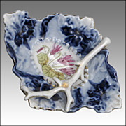 Flow Blue Pin Dish with Gilded Branch and Cyclamen Decoration