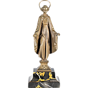 Bronze Sculpture of Saint Barbara Patron Saint of Miners - Marble Base