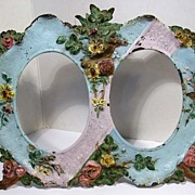 Antique Victorian Painted Cast Iron DOUBLE PICTURE FRAME - Flowers & Butterfly