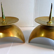 Pair Vintage Solid Brass DOME Shape CANDLE HOLDERS Temple Or Shrine 3 Footed