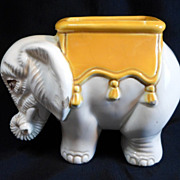 Art Deco ELEPHANT Match Holder / Striker Pottery Made in Czechoslovakia