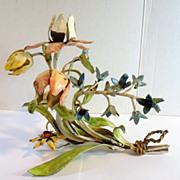 Vintage Italian Tole Painted METAL FLOWERS Candle Holder