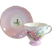 Vintage ROYAL GRAFTON Tea Cup & Saucer - CARNATIONS Pattern English Fine Bone China