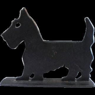 """Vintage SCOTTIE DOG DOORSTOP / Boot Scraper Scottish Terrier 9"""" Tall Cast Iron"""