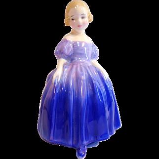 Vintage Royal DOULTON FIGURINE - MARIE HN1370 Purple Dress English Bone China