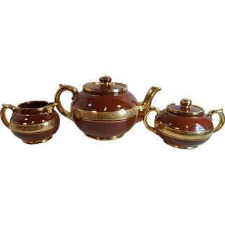 Antique Gibson & Sons SILVOE ART TEA SET Pot Creamer Sugar Bowl Gold Greek Key
