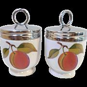 Pair Vintage ROYAL WORCESTER EVESHAM Pattern EGG CODDLERS Peaches & Blackberries
