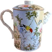 Antique KUTANI CHOCOLATE COFFEE Hot Water POT - Bird Flowers Hand Painted Porcelain Signed