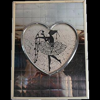 1930s Art Deco Vanity / Trinket BOX w/ NYMPH SILHOUETTE - Chromed Metal