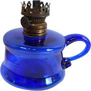 Vintage LITTLE BUTTER CUP Mini OIL LAMP Cobalt Blue Glass Pearl Wick Wheel
