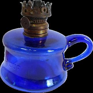 Vintage LITTLE BUTTER CUP Mini OIL LAMP Cobalt Blue Glass Pearl Wick Wheel