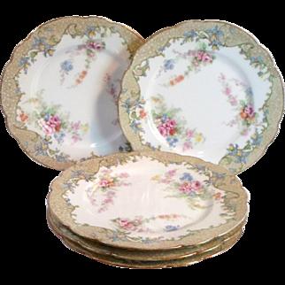 5 Antique Bernardaud LIMOGES BREAD PLATES - Ornate Floral Pattern Fine Porcelain