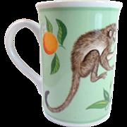 Vintage Lynn Chase MONKEY BUSINESS Coffee Tea MUG Whte Cockatoo Bird Bugs