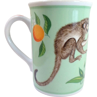 Vintage Lynn Chase MONKEY BUSINESS Coffee Tea MUG Whte Cockatoo Bird Bugs