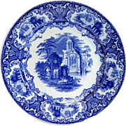 "Antique ABBEY Pattern Flow Blue 9"" Plate - Petrus Regout SPHINX Made In Holland"