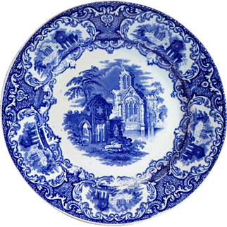 """Antique ABBEY Pattern Flow Blue 9"""" Plate - Petrus Regout SPHINX Made In Holland"""
