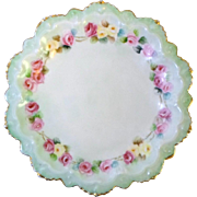 Antique MZ Austria COMPOTE - PINK & YELLOW ROSES Hand Painted Fine Porcelain Moritz Zdekauer