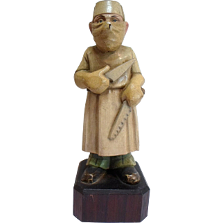 """Vintage SURGEON SAWBONES Figurine Hand Carved Wood by ANRI Toriart Italy 5.5"""" Tall"""