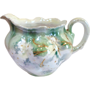 Antique RS PRUSSIA CREAMER - White Flowers with Gold Trim Swirl Fluted Porcelain