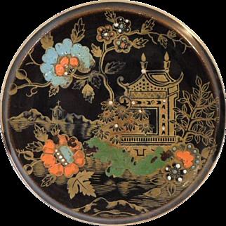 Antique S Johnson BRITANNIA POTTERY TEA TILE Trivet Asian Japonesque Design