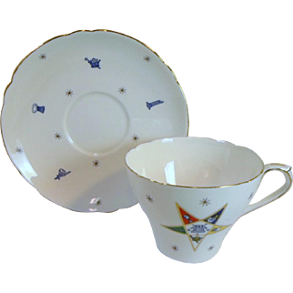 Vintage EASTERN STAR MASONIC Tea Cup & Saucer Fine Bone China By Shelley England