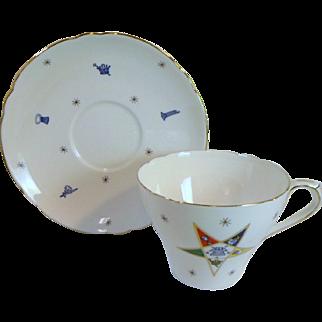 Vintage EASTERN STAR MASONIC Tea Cup & Saucer Fine Bone China By Shelley England