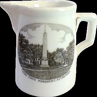Antique ACTON MA Souvenir Creamer - ISAAC DAVIS Monument Finney & Hoit Porcelain