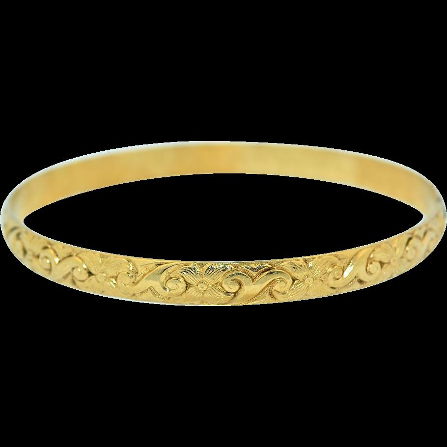 1940 50 s vintage carved 14k solid gold bangle bracelet