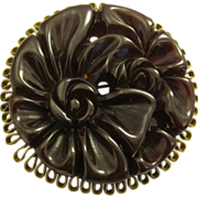 Very Large RARE Bakelite Brooch with ribbon brass edge Heavily carved