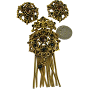 Florenza Victorian Revival Brooch and earring set