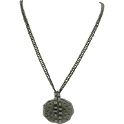 Industrial Modern age looking silver tone Pendent Necklace
