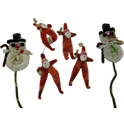 4 Made in Occupied Japan Chenille Santa's and 2 snowmen