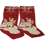 Two 1940's Christmas Stockings with Printed Snowman and woman