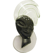 1940's Elzac Victim of Fashion Large Lucite Tribal Face Brooch