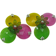 Fun and Funky spring colored vintage West German plastic shoe clips