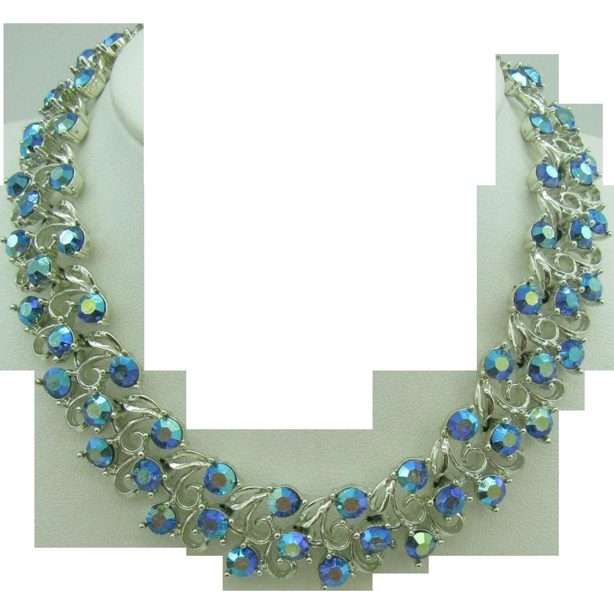 beautiful ab blue rhinestone necklace from eye4jewels on