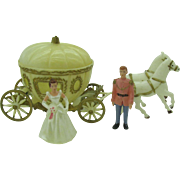 Rare 1960's Cake topper Cinderella's coach with horse's and Cinderella & Prince