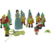 Vintage 1960's Cake toppers Snow White and the Seven Dwarfs