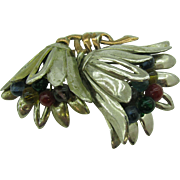Older Double Bell shaped Flower Brooch with glass ball stamen
