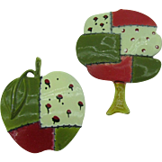 Very Rare Pakula Enameled Apple and Tree pins, patch work quilt look