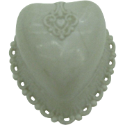 Last Chance  Dennison White Heart early plastic ring box