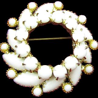 White milk Glass Swirl Brooch