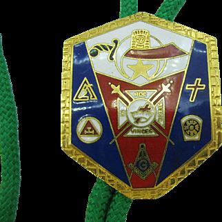Vintage Masonic Bolo Tie