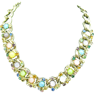 Beautiful Rhinestone necklace with Spring colors Cats eyes and swirls