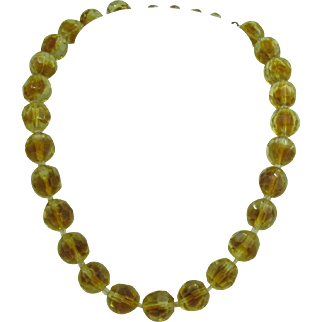 Givre' Glass Beaded Necklace marked Western Germany