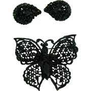 Japanned Butterfly brooch and earrings with jet black rhinestones
