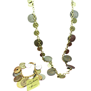 Coin Necklace and Bracelet Set Foreign coins