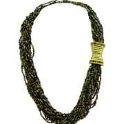Joan Rivers 1990's Black Gold Neutral Colors Czech Glass Seed Beads Torsade with wonderful clasp